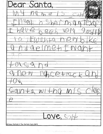 Mrs. Johnston's kindergarten Letters to Santa, 12/6/2018