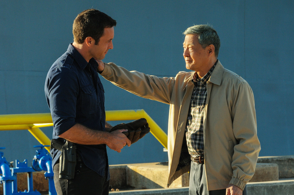 . When McGarrett (Alex O\'Loughlin, left, with James Saito, right) prevents the murder of a Pearl Harbor veteran at a remembrance ceremony, Five-0 must use decades old evidence to investigate a heinous crime committed within the internment camps on Oahu during World War II, on HAWAII FIVE-0, Friday, Dec 13 (9:00-10:00 PM, ET/PT) on the CBS Television Network.  (Photo by Norman Shapiro/CBS Broadcasting)