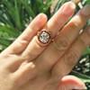 3.12ct Old European Cut Diamond Ruby Halo Ring, GIA L  25