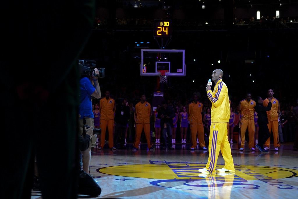 . Lakers Kobe Bryant says a few words in honor of Jerry Buss before the start of the Lakers game Wednesday.  Jerry Buss passed away last week.  Photo by David Crane/Staff Photographer