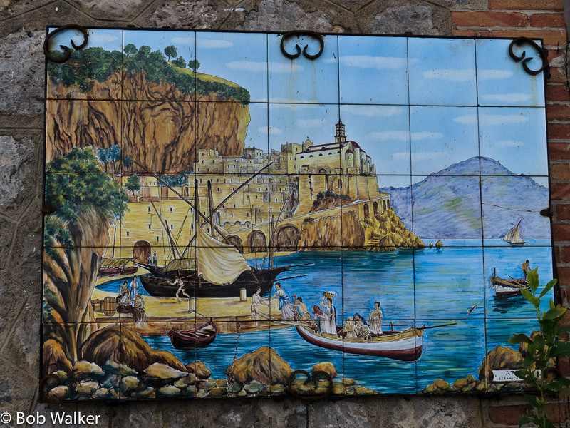 Painted tiles outside a restaurant in Amalfi