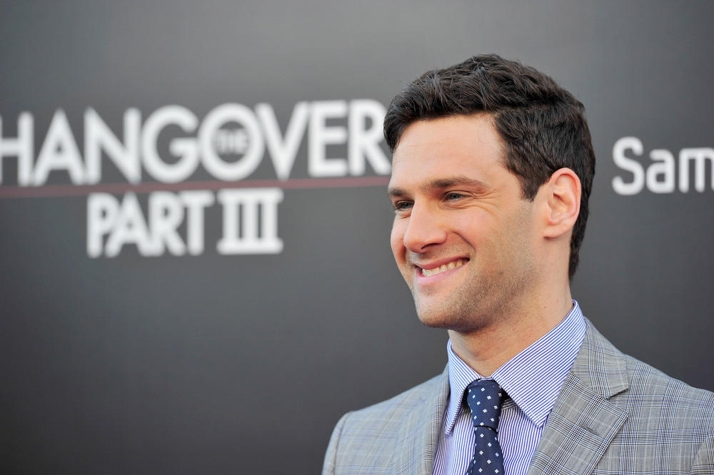 """. Actor Justin Bartha attends the premiere of Warner Bros. Pictures\' \""""Hangover Part 3\"""" at Westwood Village Theater on May 20, 2013 in Westwood, California.  (Photo by Frazer Harrison/Getty Images)"""