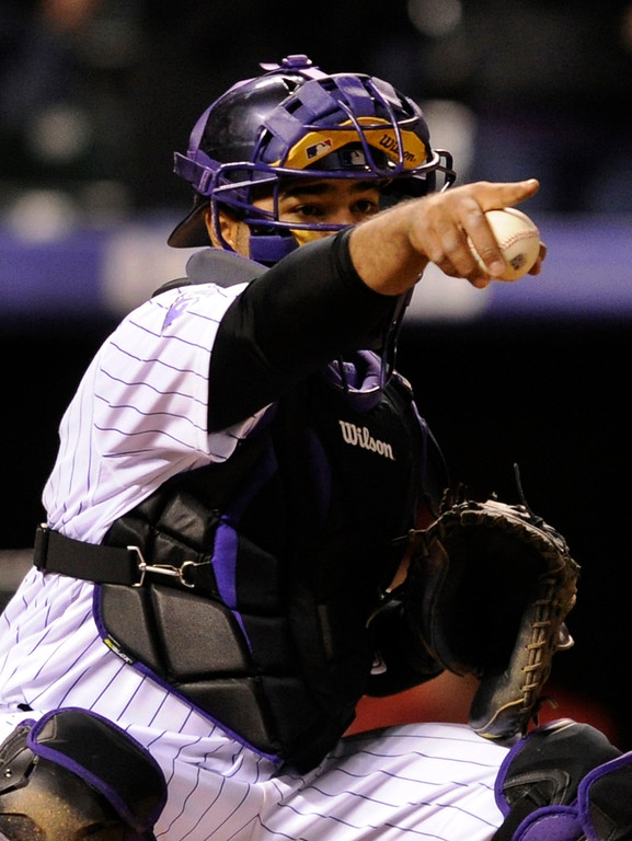 . DENVER, CO. - APRIL 19:  Colorado catcher Wilin Rosario made an appeal to the first base umpire in the ninth inning. The Colorado Rockies defeated the Arizona Diamondbacks 3-1 at Coors Field Friday night, April 19, 2013.  Photo By Karl Gehring/The Denver Post)