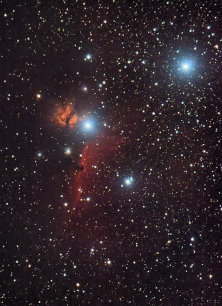 Okolí hvězdy Alnitak v Orionu - mlhoviny Plamínek a Koňská hlava, únor 2015, Olomouc. 68x60s, 17x70s, dark, flat, bias, ISO 800, Canon 350D full spectrum, Canon EF-S 55-250 IS @ 250mm f/7.1, EQ2