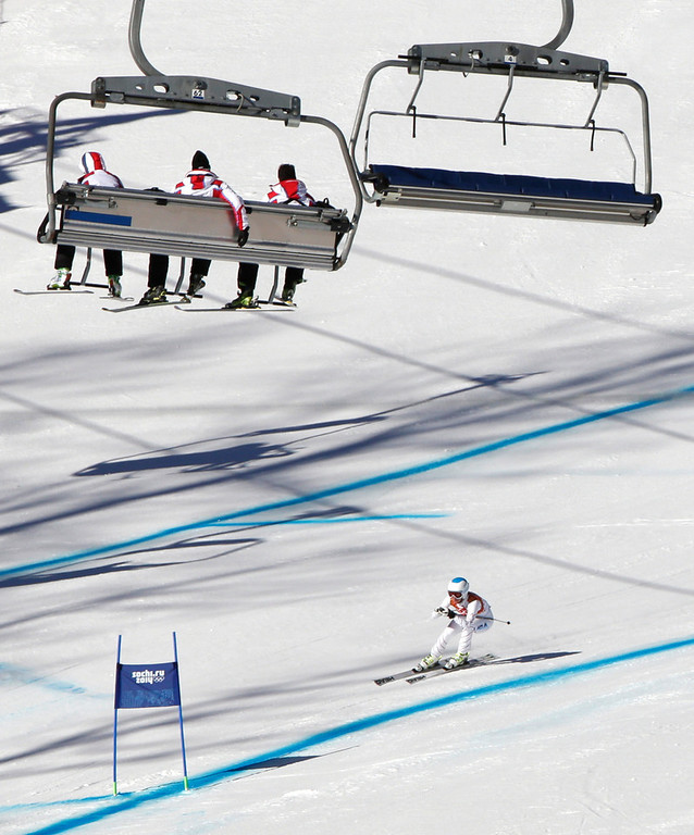. United States\' Julia Mancuso approaches the finish area during a women\'s downhill training run for the Sochi 2014 Winter Olympics, Saturday, Feb. 8, 2014, in Krasnaya Polyana, Russia. (AP Photo/Gero Breloer)