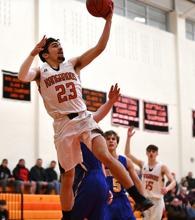 1/28/2020 Mike Orazzi | StaffrTerryville's Sean O'Donnell (23) during Tuesday night's boys basketball game with Housatonic Regional at THS. r