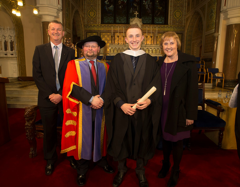 Pictured is Lee Thornton from Waterford who graduated Bachelor Bachelor of Business, also in photo is David Thornton, Dr. Derek O'Byrne, Registrar of Waterford Institute of Technology (WIT) and Belinda Thornton. Picture: Patrick Browne