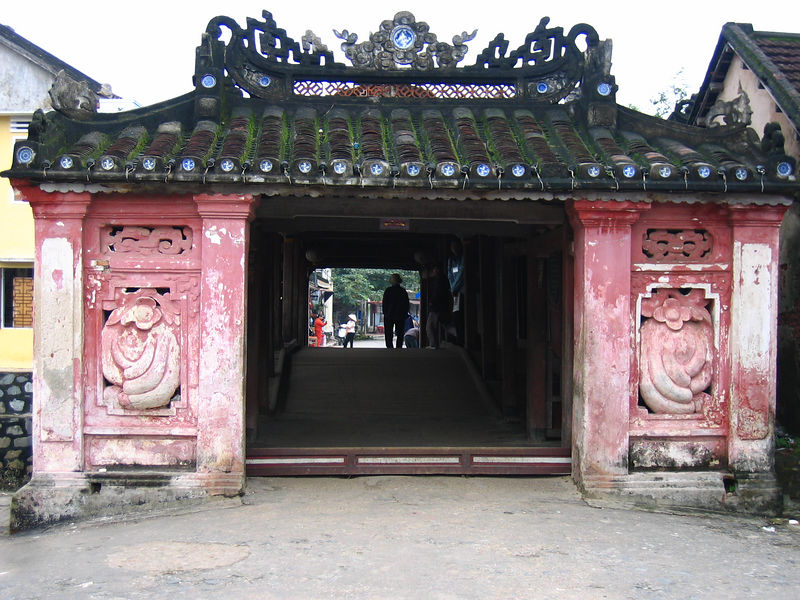 entrance to bridge built by japanese merchants in the 17th century