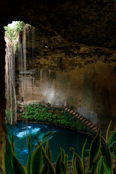 Cenote Ecoturistico Ik-kil With Blue Clear Water