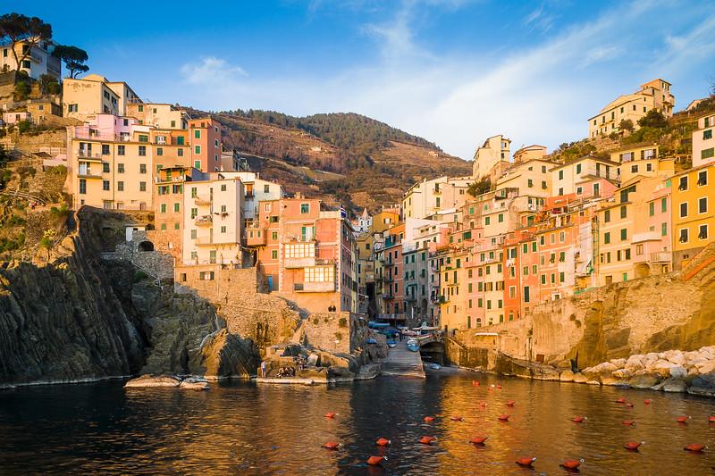 Sunset in Riomaggiore, Cinque Terre, Italy