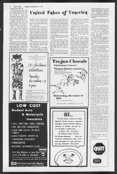 Daily Trojan, Vol. 72, No. 56, December 13, 1977