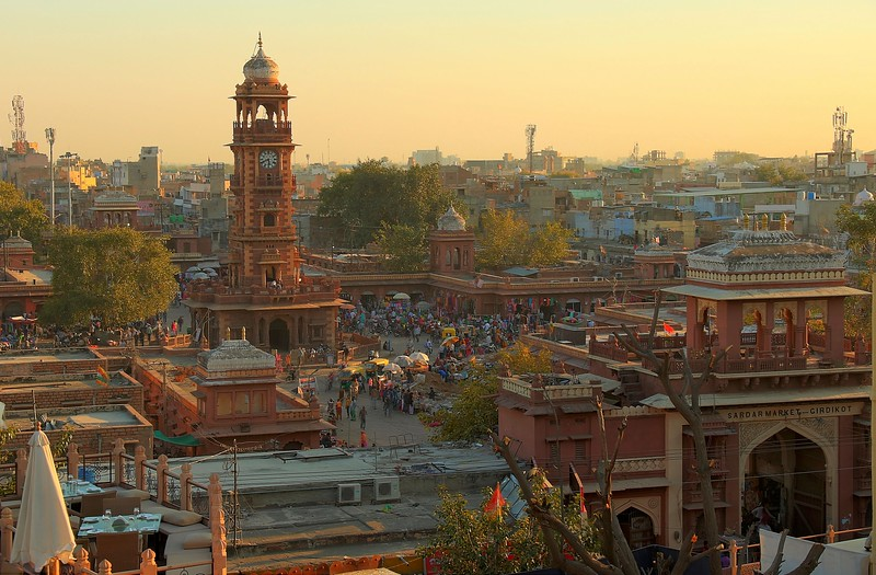 Lying at the center of Rajasthan is the bustling city of Jodhpur.  Standing in the heart of Sardar Market is the Ghanta Ghar (Clock Tower)