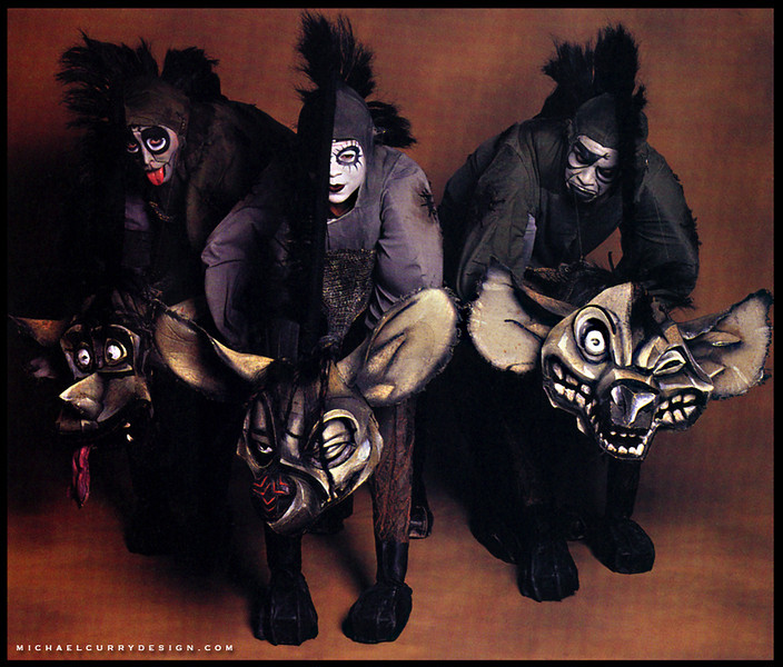 """Hyenas"" co-designed by Julie Taymor and Michael Curry.  All images used by the kind permission of the Walt Disney Company."