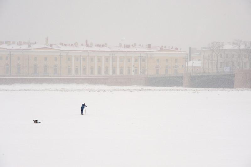 Ice Fishing on the Neva