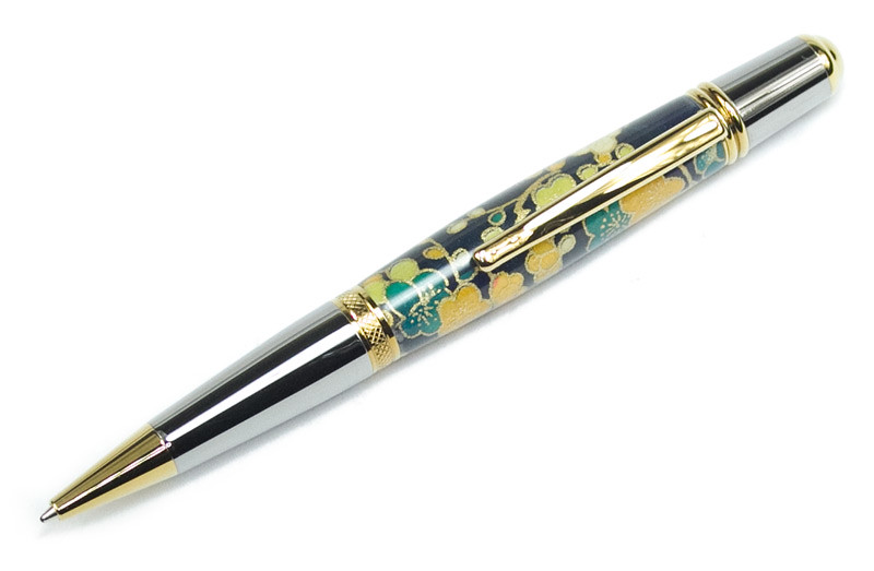 Sierra Black Titanium with Titanium Gold shown with Indigo Blossoms Japanese Paper Blank