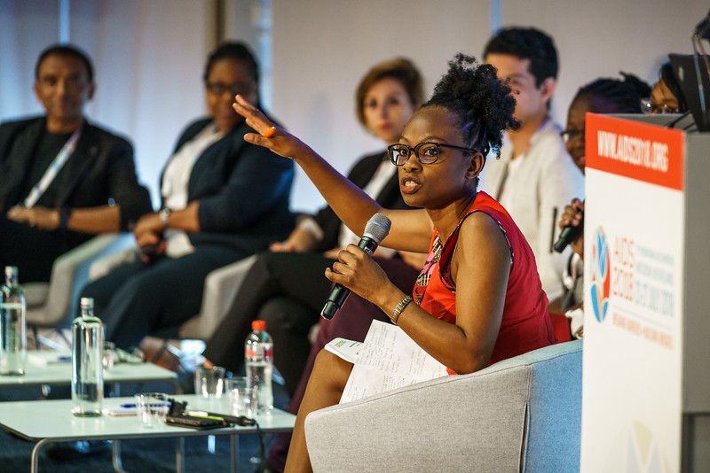 22nd International AIDS Conference (AIDS 2018) Amsterdam, Netherlands.   Copyright: Matthijs Immink/IAS  Integration in Practice: First-Hand Accounts from Clients and Health Care Providers   Photo shows (panel left to right):   Femi Oke, Al Jazeera English, United States