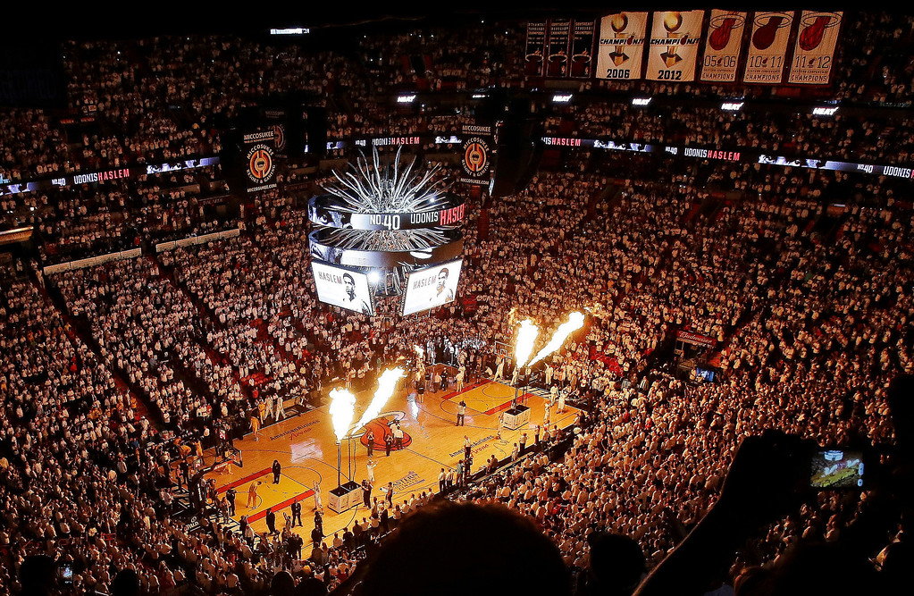 . Pyrotechnics are displayed during a time out in the first half of Game 7 in their NBA basketball Eastern Conference finals playoff series between the Miami Heat and the Indiana Pacers, Monday, June 3, 2013 in Miami. (AP Photo/Wilfredo Lee)