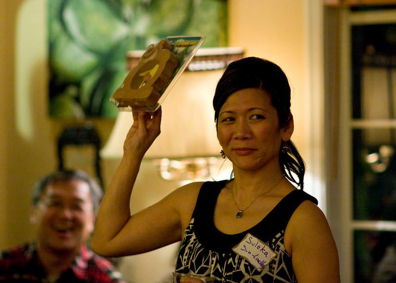 Suleka showing off the foam fan teddy bear.
