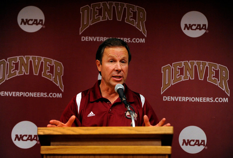 . Pioneers hockey coach George Gwozdecky talked to reporters about the upcoming season.  The University of Denver Pioneers mens hockey team practiced at Magness Arena Tuesday afternoon, October 5, 2010.  Karl Gehring/The Denver Post