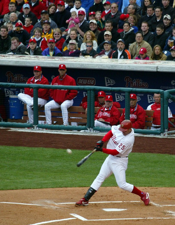 . Philadelphia Phillies\' Jim Thome hits a home run in the first inning off Cleveland Indians\' Jeff D\'Amico during an exhibition game in Philadelphia, Saturday, April 3, 2004, for the first home run in the Phillies\' new ballpark. (AP Photo/Rusty Kennedy)