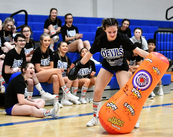 3/6/2020 Mike Orazzi | StaffrPlainville High School Cheerleaders punches out their negative thoughts while preparing for the state competition on Friday night at PHS.