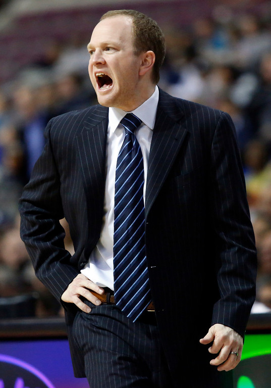 . Detroit Pistons head coach Lawrence Frank shouts instructions from the bench in the first half of an NBA basketball game against the Denver Nuggets, Tuesday, Dec. 11, 2012, in Auburn Hills, Mich. (AP Photo/Duane Burleson)