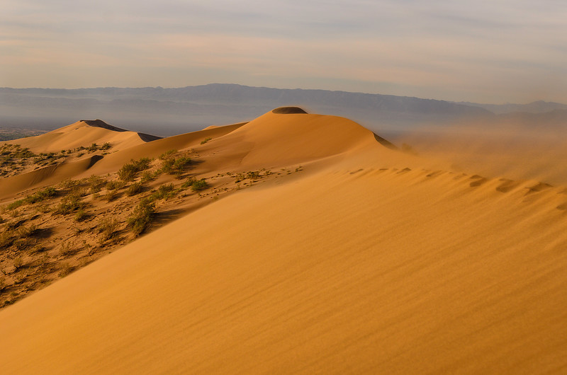 Windy dawn on the Singing Sand Dune