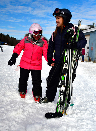 1/12/2019 Mike Orazzi | Staff Nancy Velasquez and her daughter Sadey while at Mount Southington Ski Area on Mt Vernon Road in Plantsville Saturday.