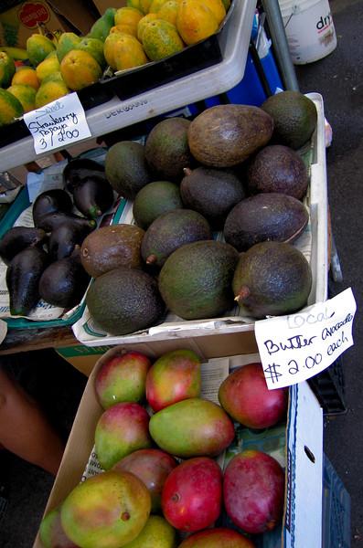 Papaya, avocado, mango