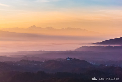 Misty sunset from Špica hill - Nov 7, 2013