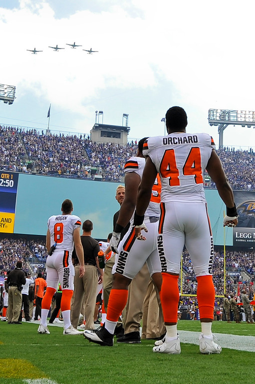 . The Cleveland Browns watch a fly over before an NFL football game against the Baltimore Ravens in Baltimore, Sunday, Sept. 17, 2017. (AP Photo/Gail Burton)