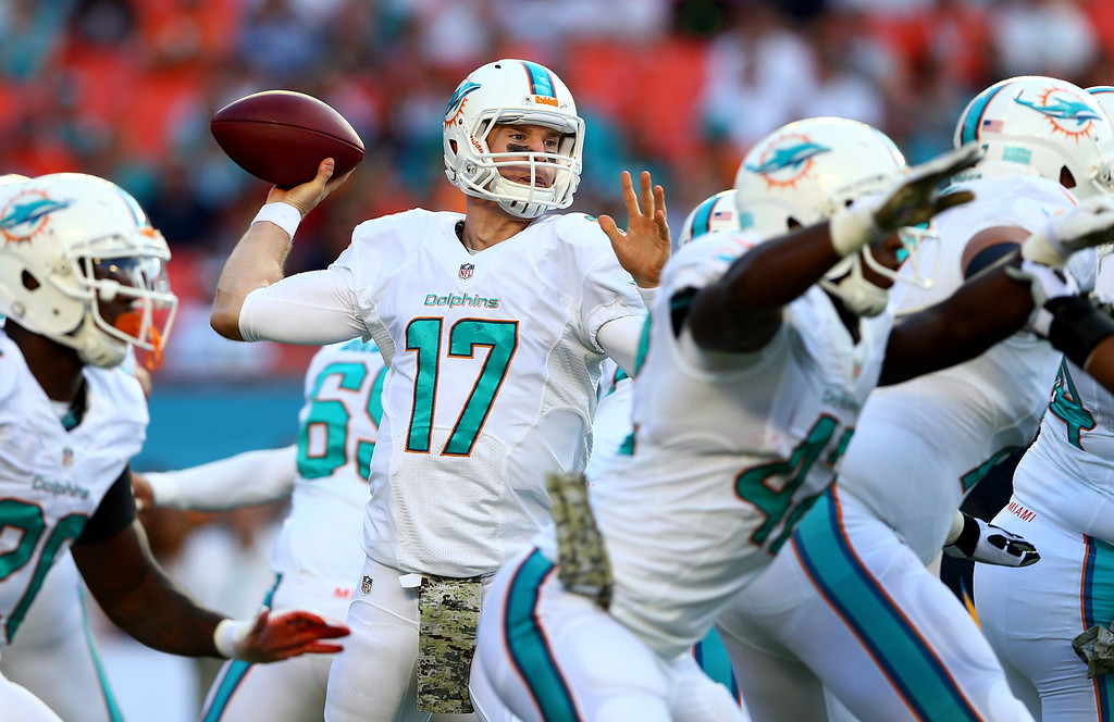 . Ryan Tannehill #17 of the Miami Dolphins drops back to pass during their game against the San Diego Chargers at Sun Life Stadium on November 17, 2013 in Miami Gardens, Florida.  (Photo by Streeter Lecka/Getty Images)