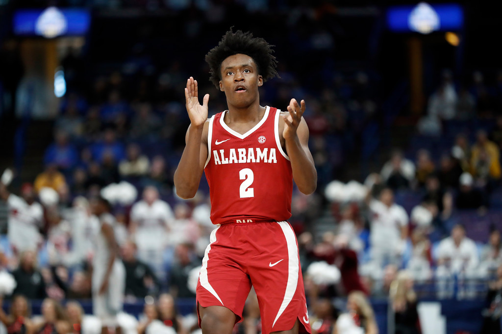 . Alabama\'s Collin Sexton celebrates during the second half in an NCAA college basketball game against Texas A&M at the Southeastern Conference tournament Thursday, March 8, 2018, in St. Louis. Alabama won 71-70. (AP Photo/Jeff Roberson)