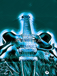 Gibson ES 330 Guitar in Digital painting print set 2109