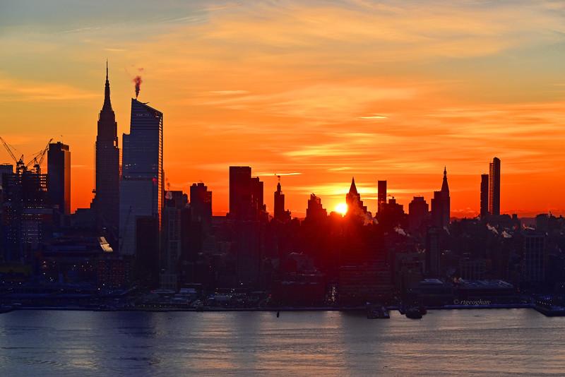 NYC Sunrise Blue and Orange