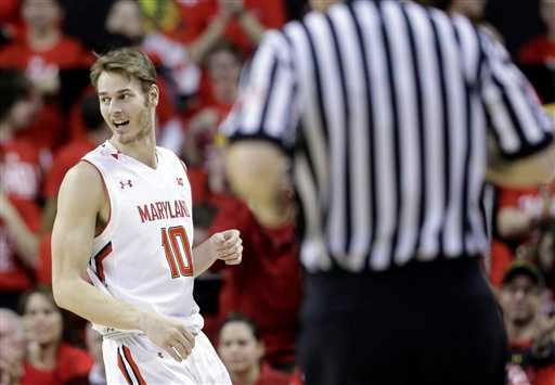 . Maryland guard/forward Jake Layman walks on the court in the second half of an NCAA college basketball game against Michigan, Saturday, Feb. 28, 2015, in College Park, Md. (AP Photo/Patrick Semansky)
