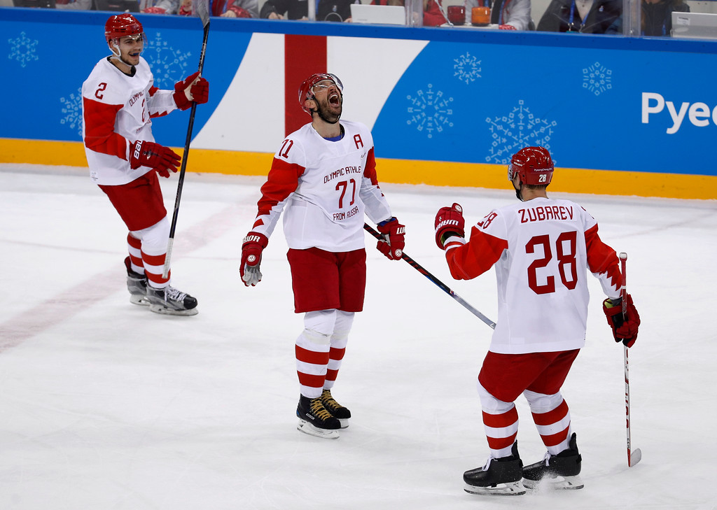 . Russian athlete Ilya Kovalchuk (71) reacts after scoring a goal against the Czech Republic during the third period of the semifinal round of the men\'s hockey game at the 2018 Winter Olympics in Gangneung, South Korea, Friday, Feb. 23, 2018. Olympic Athletes from Russia won 3-0. (AP Photo/Patrick Semansky)