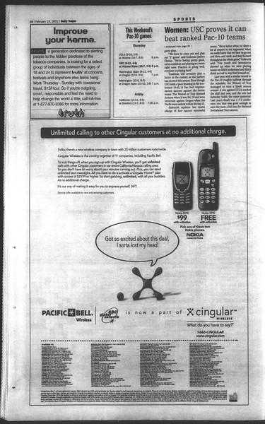 Daily Trojan, Vol. 142, No. 26, February 15, 2001