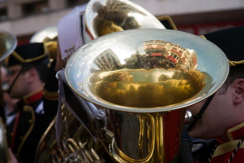 Brass band musicians, Palm Sunday, Seville, Spain
