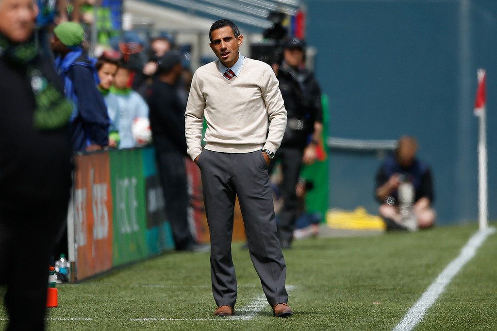 . Head coach Pablo Mastroeni of the Colorado Rapids looks on during the match against the Seattle Sounders FC at CenturyLink Field on April 26, 2014 in Seattle, Washington. The Sounders defeated the Rapids 4-1.  (Photo by Otto Greule Jr/Getty Images)