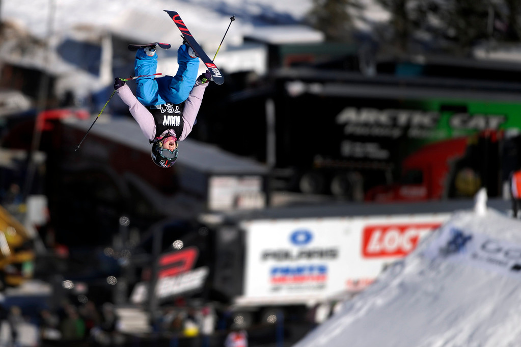 . ASPEN, CO - January 27: Jamie Crane-Mauzy completes a double backflip during the women\'s Ski Slopestyle final at Winter X Games Aspen 2013 at Buttermilk Mountain on Jan. 27, 2013, in Aspen, Colorado. Crane-Mauzy finished seventh. (Photo by Daniel Petty/The Denver Post)