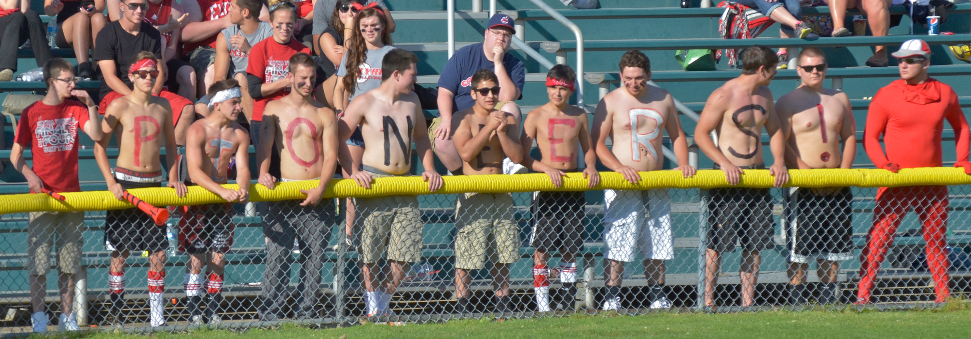. Jeff Forman/JForman@News-Herald.com Elyria fans spell out Pioneers as they cheer their team in the state semifinal game June 5 at Firestone Stadium in Akron.