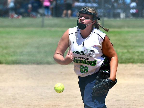 7/21/2018 Mike Orazzi | Staff Terryville Titian Ashley Serafin (89) during softball at the Nutmeg Games in New Britain Saturday.