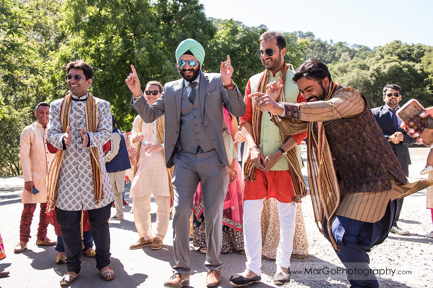 Indian men having fun during Baraat Swagat at Elliston Vineyards in Sunol