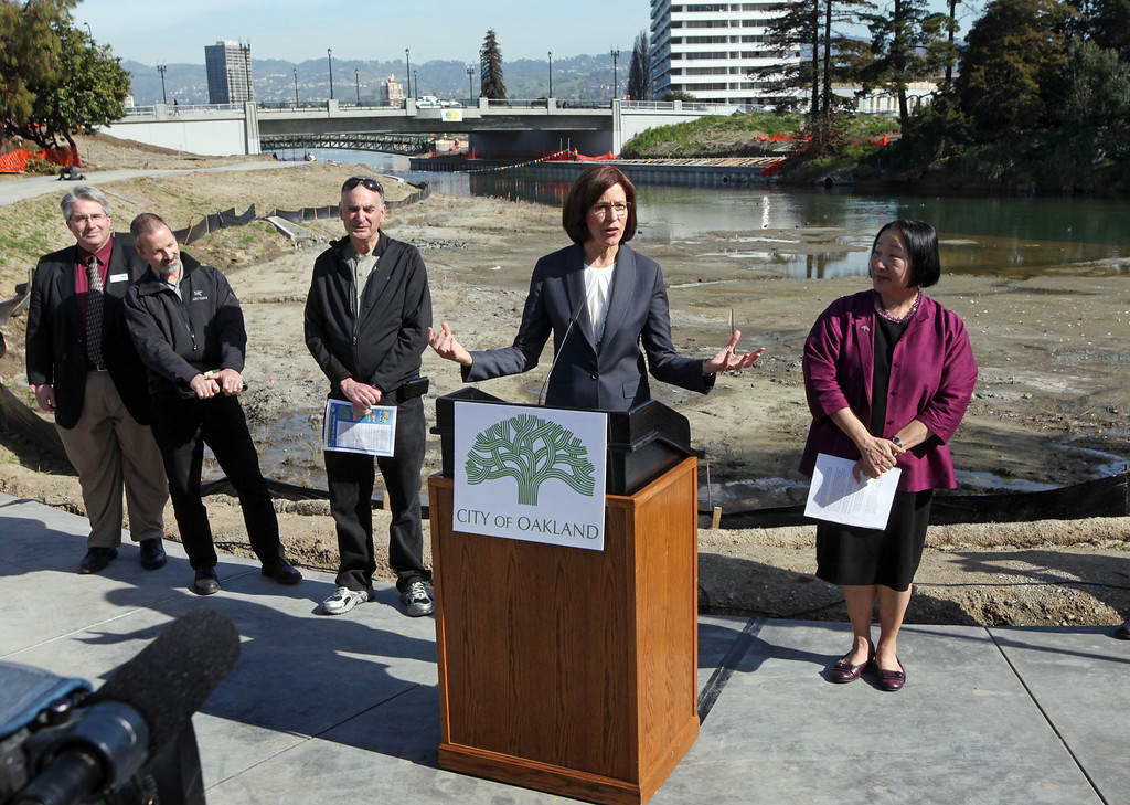 . Council president Patricia Kernighan is one of a handful of speakers during the celebration of the re-opening of a 750-foot section of the  Lake Merritt Channel in Oakland, Calif., on Friday, Feb. 22, 2013. The new 100-foot-wide free flowing tidal channel, for the first time since 1869, allows boats to travel from the Lake Merritt Channel to Lake Merritt . This is the first of a series of projects that will eventually connect Lake Merritt to the Oakland Estuary. (Laura A. Oda/Staff)