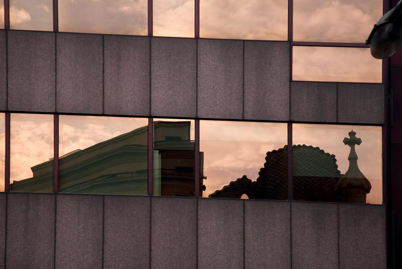 Batllo House (by Gaudi) reflected on the Pastor Bank building, Passeig de Gracia, town of Barcelona, autonomous commnunity of Catalonia, northeastern Spain