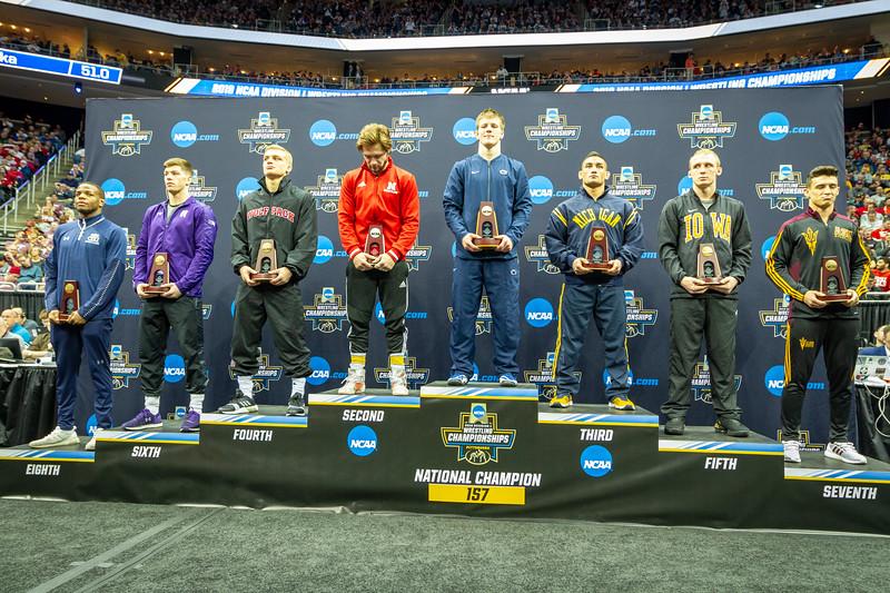 1st - Jason Nolf (Penn State)  2nd - Tyler Berger (Nebraska)  3rd - Alec Pantaleo (Michigan)  4th - Hayden Hidlay (NC State)  5th - Kaleb Young (Iowa)  6th - Ryan Deakin (Northwestern)  7th - Christian Pagdilao (Arizona State)  8th - Larry Early (Old Dominion)