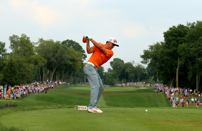 . Rickie Fowler of the United States hits his tee shot on the tenth hole during the final round of the 96th PGA Championship at Valhalla Golf Club on August 10, 2014 in Louisville, Kentucky.  (Photo by Andrew Redington/Getty Images)