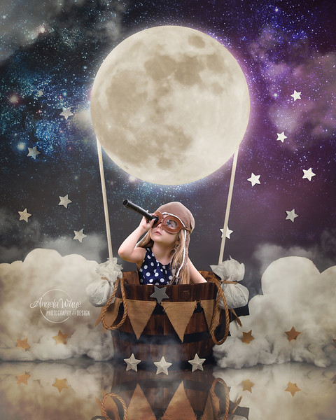 Child Sitting in Hot Air Moon Balloon with Stars