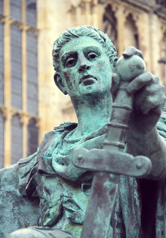 . A monument to Constatine the Great, who was proclaimed emperor in York and is best known for converting the Roman Empire from paganism to Christianity.(Photograph by Dennis Lennox)